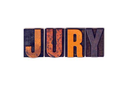 """jurado: La palabra """"Jurado"""", escrita en el tipo de tipografía aislados cosecha de madera sobre un fondo blanco."""