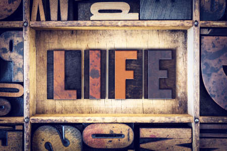 The word Life written in vintage wooden letterpress type. Stock Photo