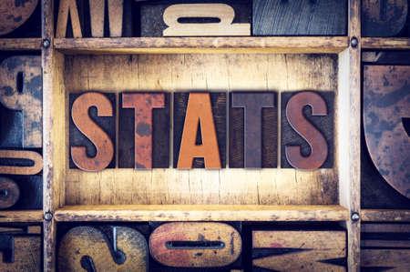 The word Stats written in vintage wooden letterpress type.