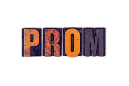prom queen: The word Prom written in isolated vintage wooden letterpress type on a white background.