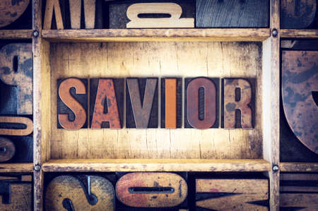 letterpress type: The word Savior written in vintage wooden letterpress type. Stock Photo
