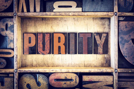unblemished: The word Purity written in vintage wooden letterpress type.