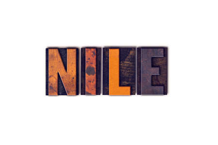white nile: The word Nile written in isolated vintage wooden letterpress type on a white background. Stock Photo