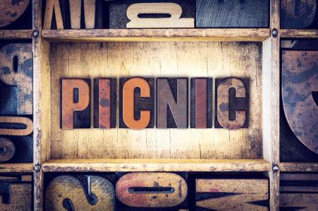 letterpress type: The word Picnic written in vintage wooden letterpress type.