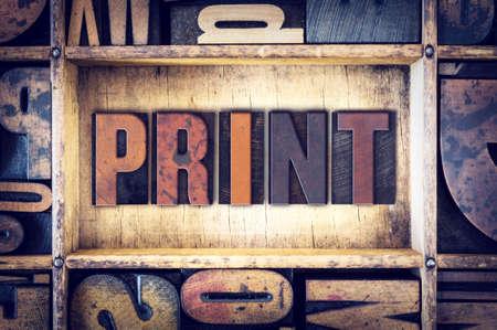 """impresion: La palabra """"Imprimir"""", escrito en tipografía de madera de la vendimia."""