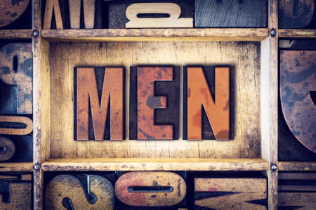 pappy: The word Men written in vintage wooden letterpress type.
