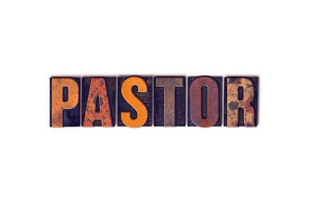 """Das Wort """"Pastor"""" in isolierten Vintage Holz Buchdruck Typ auf einem weißen Hintergrund geschrieben."""