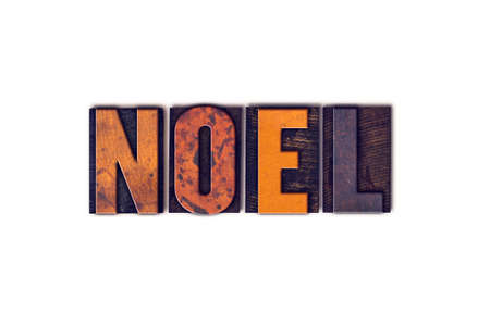 hymn: The word Noel written in isolated vintage wooden letterpress type on a white background.