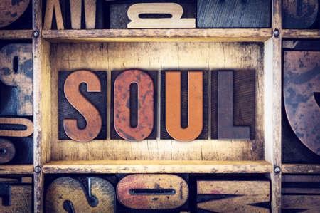 """the psyche: La palabra """"alma"""", escrito en tipografía de madera de la vendimia."""