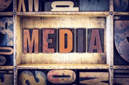 letterpress type: The word Media written in vintage wooden letterpress type.