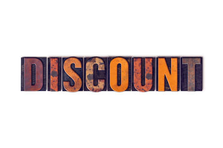 discounted: The word Discount written in isolated vintage wooden letterpress type on a white background.