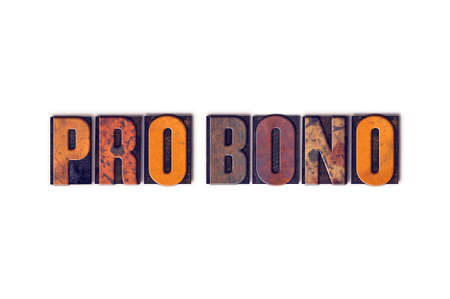 bono: The word Pro Bono written in isolated vintage wooden letterpress type on a white background. Stock Photo