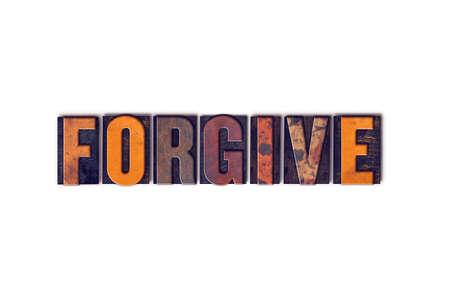 """to forgive: La palabra """"Perd�name"""", escrita en el tipo de tipograf�a de madera aislada de la vendimia en un fondo blanco."""