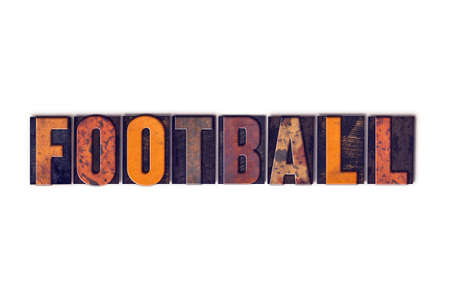 superbowl: The word Football written in isolated vintage wooden letterpress type on a white background. Stock Photo