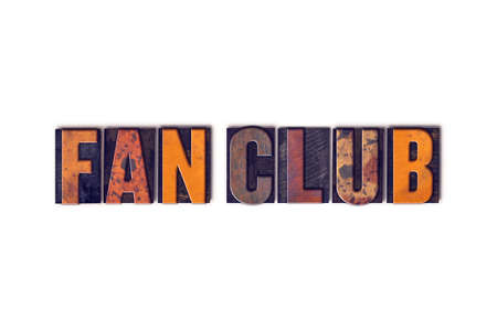 The word Fan Club written in isolated vintage wooden letterpress type on a white background. 版權商用圖片
