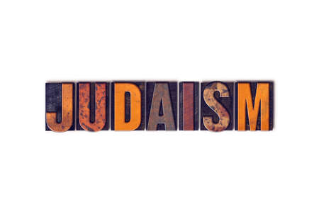 judaism: The word Judaism written in isolated vintage wooden letterpress type on a white background.