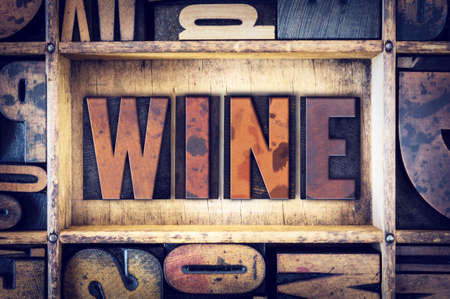 pinot noir: The word Wine written in vintage wooden letterpress type. Stock Photo
