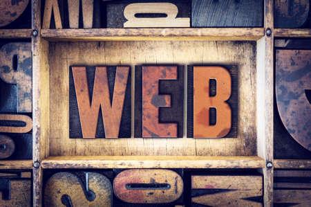 letterpress type: The word Web written in vintage wooden letterpress type.