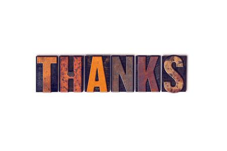 """agradecimiento: La palabra """"Gracias"""" escrita en el tipo de tipograf�a de madera aislada de la vendimia en un fondo blanco. Foto de archivo"""