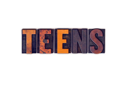 youthfulness: The word Teens written in isolated vintage wooden letterpress type on a white background.