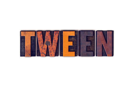 tween: The word Tween written in isolated vintage wooden letterpress type on a white background.