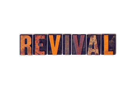 """The word """"Revival"""" written in isolated vintage wooden letterpress type on a white background. Stock fotó"""