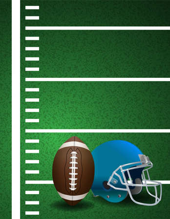 An illustration of a realistic American football turf field with yard lines and ball and helmet. 向量圖像