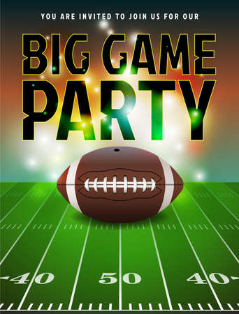 party: American football party invitation illustration.=