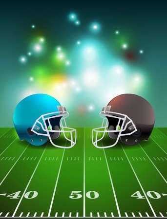 football helmets: American football helmets on stadium field illustration. Illustration