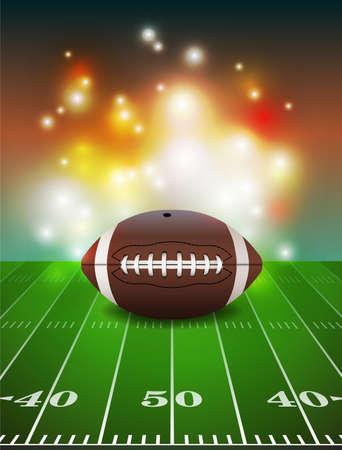 American Football auf Gras Rasen-Feld Illustration.