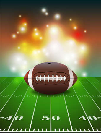american football ball: American football on grass turf field illustration.