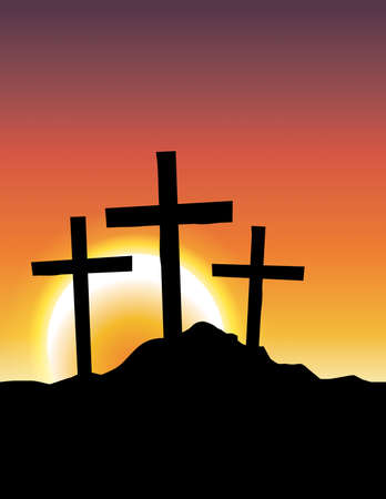 calvary: An illustration of Christian calvary crosses silhouetted ad a sunrise or sunset. Illustration