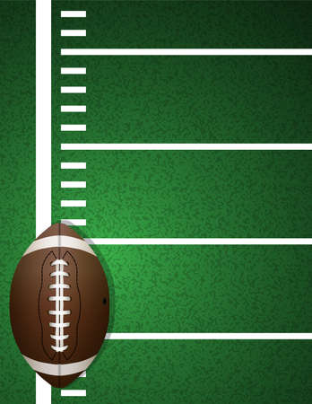 An illustration of an American football on a realistic textured turf field background.