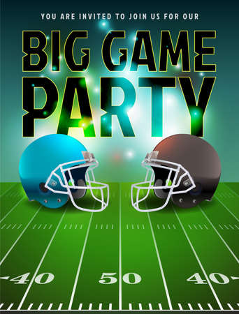 flyer background: American football big game party illustration.