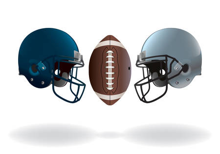 clash: An illustration of isolated on white American football helmets and ball matching up for a championship.