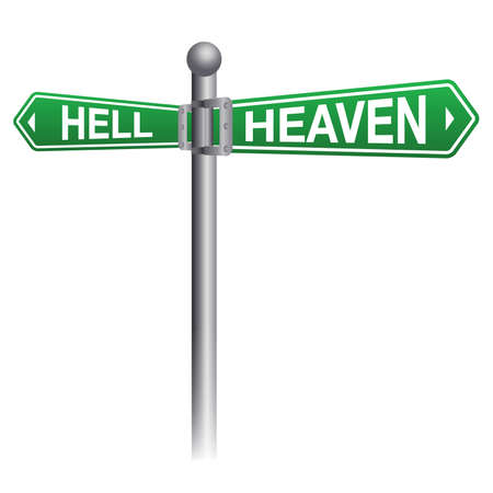 A street sign depicting heaven and hell themes. Vector EPS 10 available. Ilustração