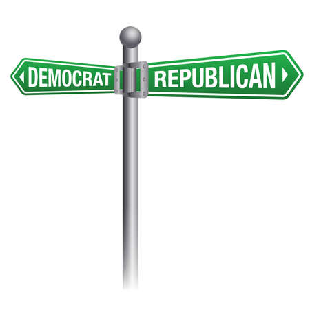 political and social issues: A street sign depicting republican versus democrat theme. Illustration