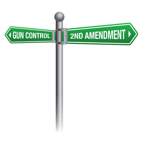 shootings: Gun control versus the second amendment gun rights theme.