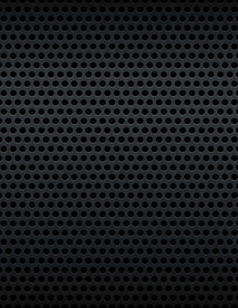 A black metallic mesh grill background.