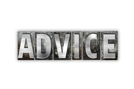inform information: The word Advice written in vintage metal letterpress type isolated on a white background. Stock Photo