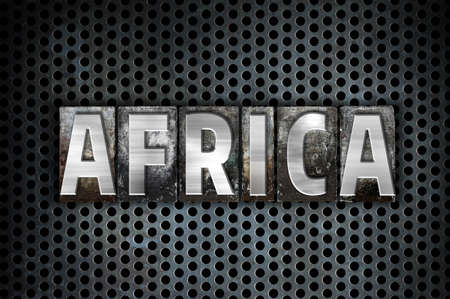 The word Africa written in vintage metal letterpress type on a black industrial grid background.