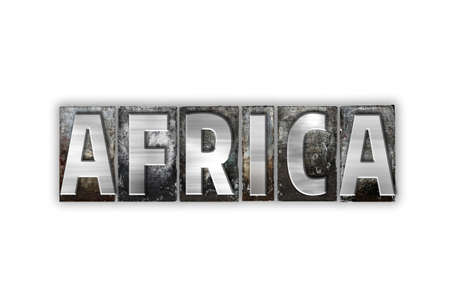The word Africa written in vintage metal letterpress type isolated on a white background.