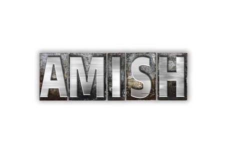The word Amish written in vintage metal letterpress type isolated on a white background. Stock Photo