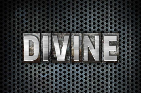 The word Divine written in vintage metal letterpress type on a black industrial grid background.