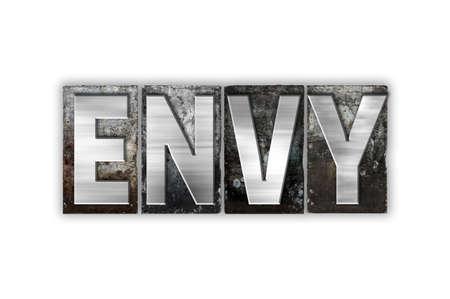 """ego�sta: La palabra """"envidia"""" escrita en el tipo de cosecha tipograf�a de metal aislado en un fondo blanco. Foto de archivo"""