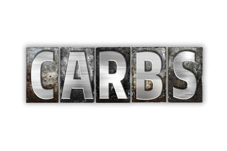 carbs: The word Carbs written in vintage metal letterpress type isolated on a white background. Stock Photo