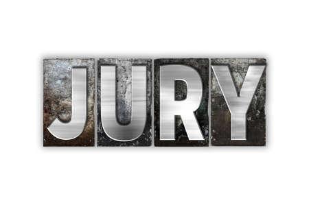 """jurado: La palabra """"Jurado"""", escrita en el tipo de cosecha tipografía de metal aislado en un fondo blanco. Foto de archivo"""