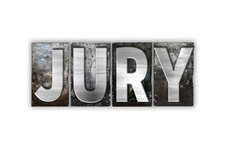 jurors: The word Jury written in vintage metal letterpress type isolated on a white background.