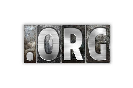 org: The word Dot org written in vintage metal letterpress type isolated on a white background.