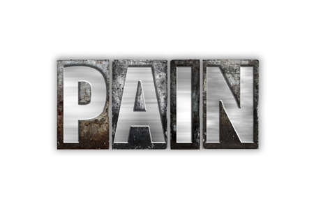 pain killers: The word Pain written in vintage metal letterpress type isolated on a white background.